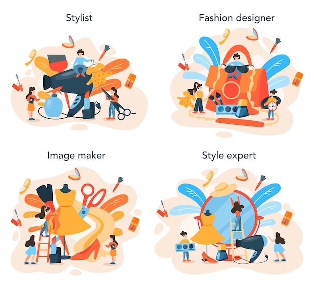 Профессиональный персонаж модной индустрии выбирает одежду для клиента