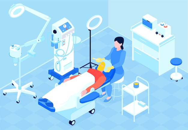 Cosmetologo femminile professionista che esegue la procedura di illustrazione isometrica 3d di peeling chimico