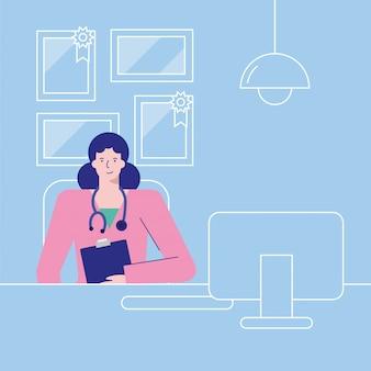 Профессиональная женщина-врач работает в настольном аватара персонажа