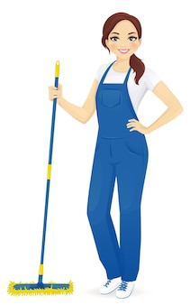 Professional female floor cleaner standing with mop  illustration