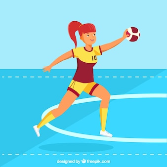 Professional  female handball player with flat design