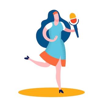 Professional female singer flat color illustration