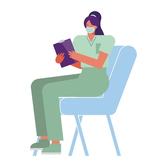 Professional female surgeon wearing medical mask seated in chair illustration