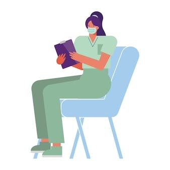 椅子のイラストに座っている医療マスクを身に着けているプロの女性外科医