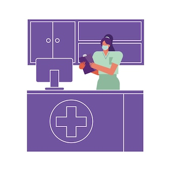 Professional female surgeon wearing medical mask working in desktop illustration