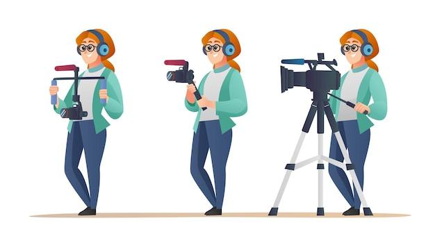 Профессиональный женский видеооператор набор персонажей в различных позах