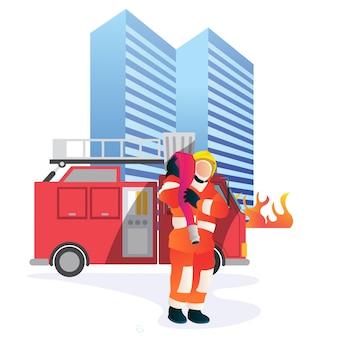 Профессиональный пожарный поднимает шланг, после успеха тушит пожары в небоскребе.