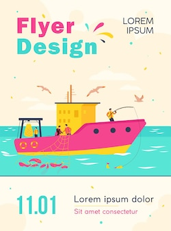 Professional fishermen working in vessel isolated flyer template