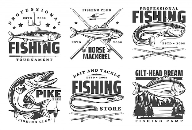 Professional fishing sport, fisherman club badges