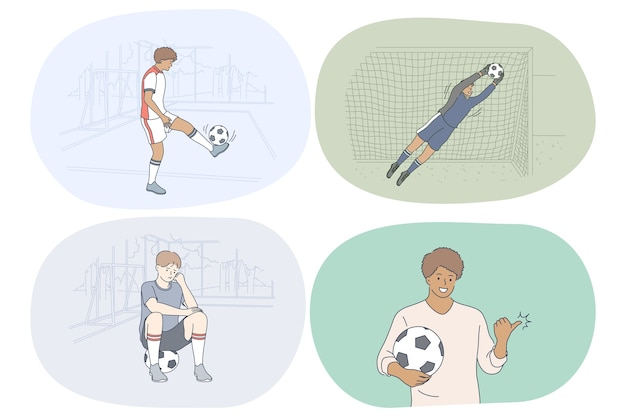 Professional football player, soccer ball and match concept.
