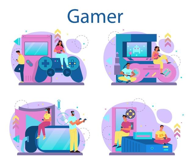 프로 게이머 컨셉 세트. 컴퓨터 비디오 게임을하는 사람. e- 스포츠 팀, 프로 게임. 가상 챔피언십. 만화 스타일의 벡터 일러스트 레이션