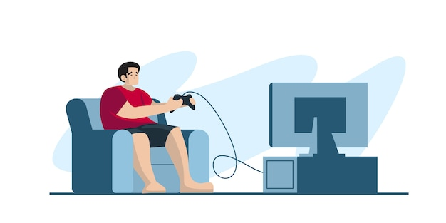 Профессиональный геймер, удерживая контроллер площадку, играя в видеоигры на экране телевизора. игрок в киберспорт, концепция профессиональных геймеров. шаблон заголовка или нижнего колонтитула баннера. масштабируемая и редактируемая иллюстрация.