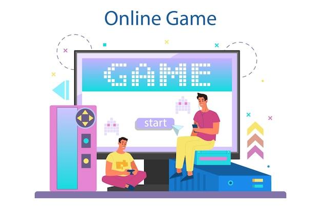 Онлайн-сервис или платформа для профессиональных игроков. человек играет в компьютерную видеоигру. онлайн игра.