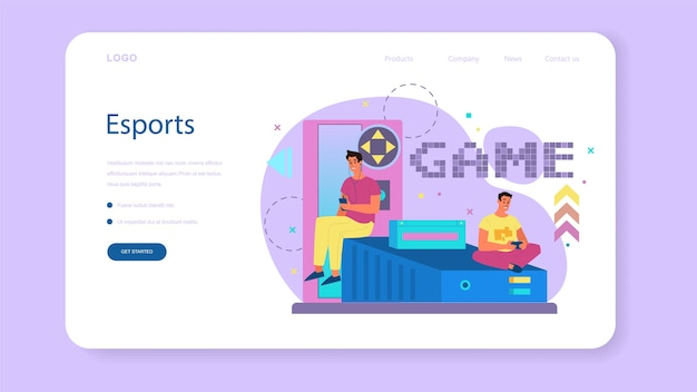 Professional gamer web banner or landing page. person play