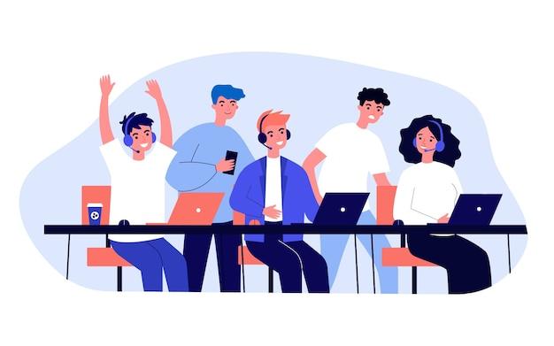 Профессиональные геймеры в гарнитурах играют в онлайн-игры. группа поддержки, чемпионат, турнирная иллюстрация. киберспорт, концепция киберспорта для баннера, веб-сайта или целевой веб-страницы