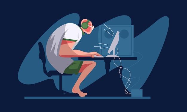 ビデオゲームをプレイするコンピューターのテーブルにヘッドセットを備えたプロのゲーマー。 eスポーツプレーヤー、プロゲーマーのコンセプト。ヘッダーまたはフッターのバナーテンプレート。スケーラブルで編集可能なイラスト。