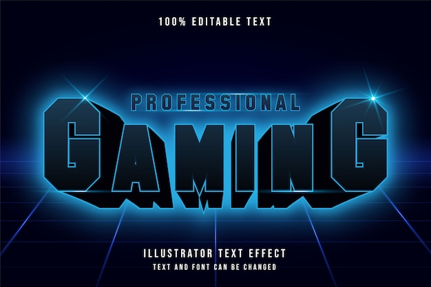 Professional gaming, 3d editable text effect.