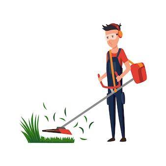 뒤뜰에서 일하고 전기 깎는 기계로 잔디를 깎는 전문 정원사. 정원에서 잔디를 자르는 남성 핸디. 전문 노동자의 컬러 플랫 만화 벡터 일러스트 레이 션.