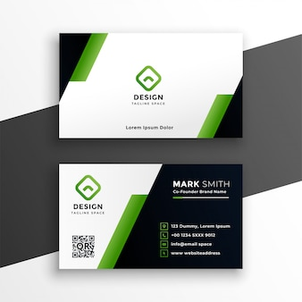 Professional geometric green business card template