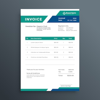 Professional geometric invoice template design