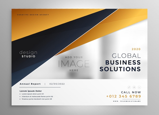 Professional gold geometric brochure design template