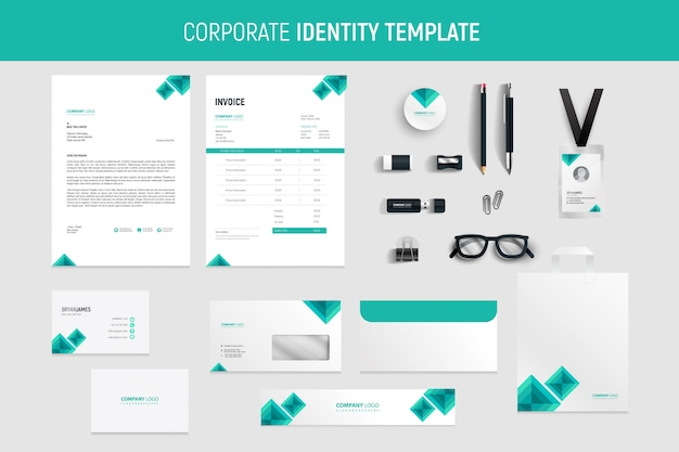 Professional green business stationery set