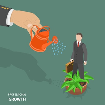 Professional growth flat isometric low poly vector concept.