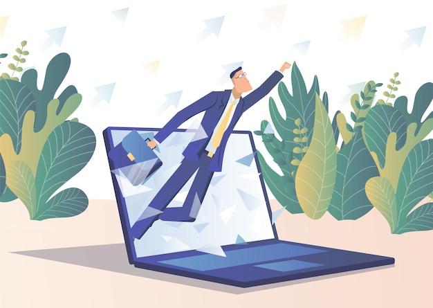 전문적인 성장 서류 가방을 든 사업가가 노트북 화면 밖으로 날아간다