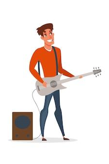 プロのギタープレーヤーのイラスト。エレクトリックギターの漫画のキャラクターを保持している笑顔の男。ギタリスト、バンドメンバーがソロで演奏。ロックコンサート、ミュージカルショーステージパフォーマンス
