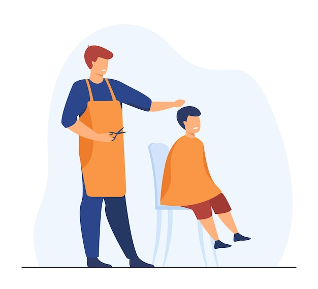 Professional hairdresser cutting hairs of boy