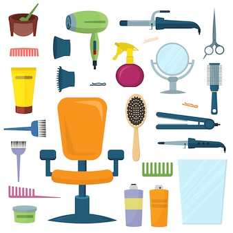 Professional hairdresser tools vector set.