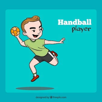 Professional hand drawn handball player