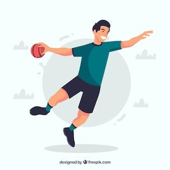 평면 디자인의 프로 핸드볼 선수