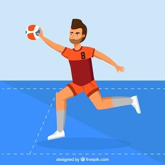 Professional handball player with flat design