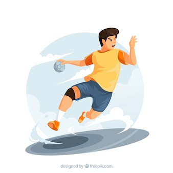 Professional handball player with flat design