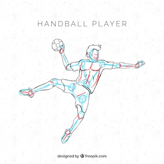 Professional handball player with hand drawn style