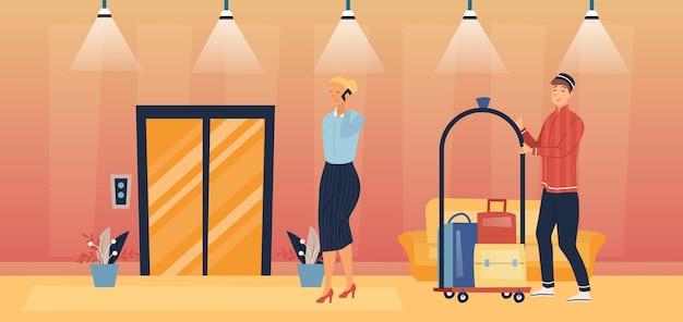 전문 호텔 서비스 및 직원 개념.