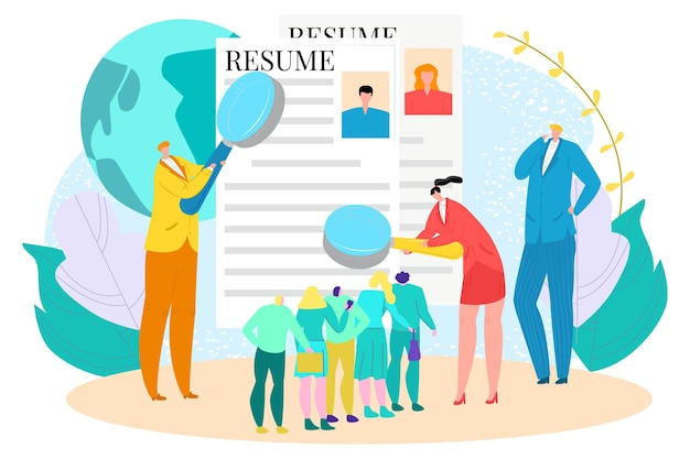 Professional human resources specialist hold resume and magnifier glass job interview flat vector il...