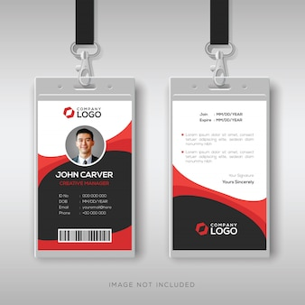 Professional identity card with red details