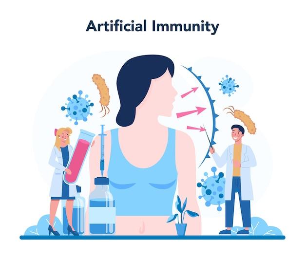 전문 면역 학자. 의료, 바이러스 예방에 대한 아이디어. 면역 요법 및 예방 접종. 외딴