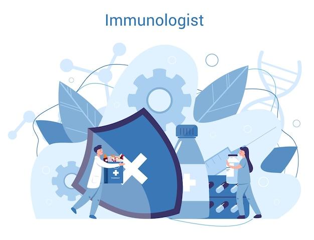 전문 면역 학자. 의료, 바이러스 예방에 대한 아이디어. 예방 접종.