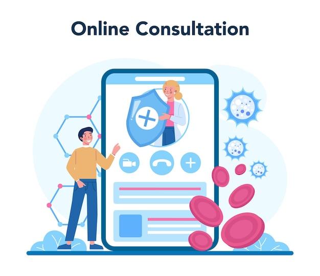 전문 면역 학자 온라인 서비스 또는 플랫폼. 건강 관리의 아이디어