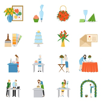 Professional interior decorators flat icons collection