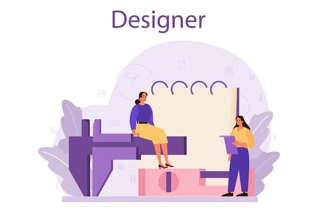 전문 인테리어 디자이너 컨셉. 장식가는 방의 디자인을 계획하고 벽 색상과 가구 스타일을 선택합니다. 주택 개조.