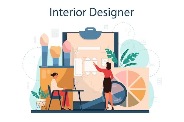 전문 인테리어 디자이너 컨셉. 디자인을 계획하는 데코레이터