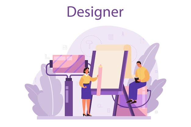 プロのインテリアデザイナーのコンセプト。