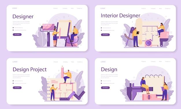 Веб-баннер или целевая страница профессионального дизайнера интерьера