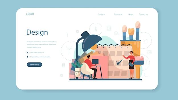 Профессиональный дизайнер интерьера веб-баннер или целевая страница