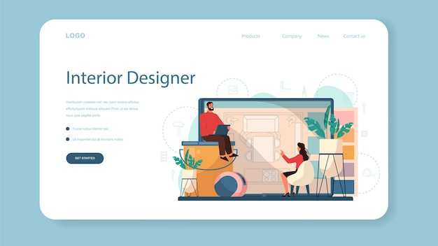 Профессиональный дизайнер интерьера веб-баннер или целевая страница.