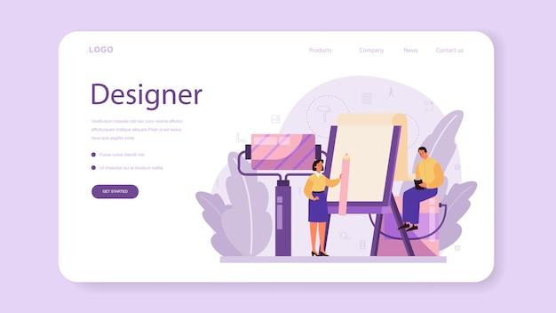 プロのインテリアデザイナーのウェブバナーまたはランディングページ。